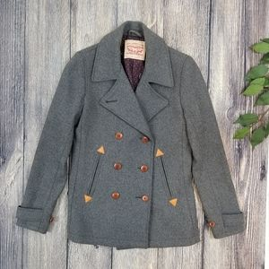 Levi's Double Breasted Gray Wool Peacoat Jacket